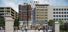 Square 77 Residence Hall from Kogan Plaza