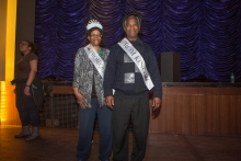 Photo of 2016 GWU Senior Prom King and Queen with sashes.